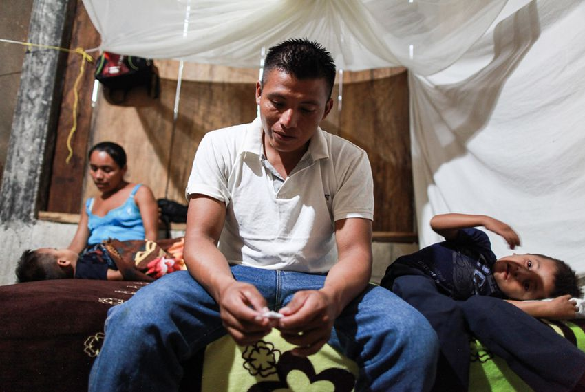 David Xol, his wife Florinda Bol and two of their sons at their home in San Miguel Limón. Xol made his way across Mexico with his third son, eight-year-old Byron. Xol was deported back to Guatemala; Byron remains in a shelter in Baytown.