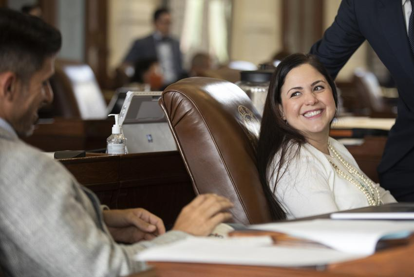 State Rep. Ana Hernandez, D-Houston, on the House floor on May 7, 2021.