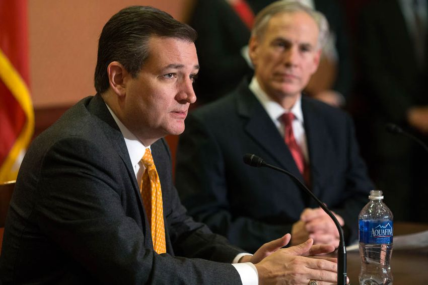 U.S. Sen. Ted Cruz and Gov. Greg Abbott speak at a press conference in the Capitol about Cruz's Terrorist Refugee Infiltration Prevention Act of 2015 (S. 2302), in Washington, D.C., on Dec. 8, 2015.