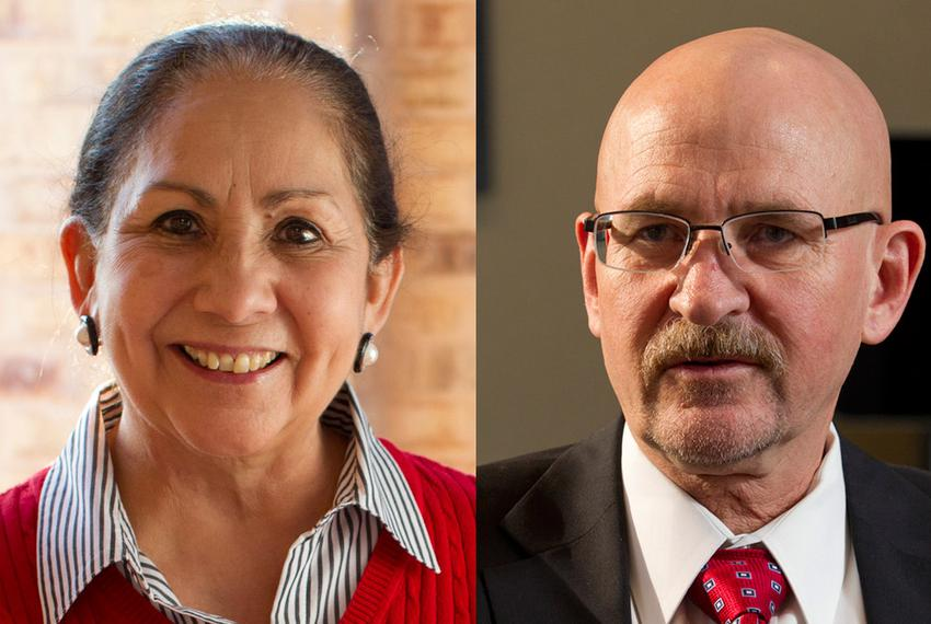 Dr. Juliet García, president of the University of Texas at Brownsville, Dr. Robert Nelsen, president of the University of Te…