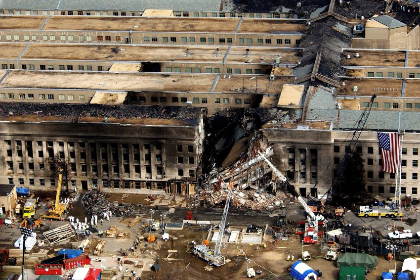The Pentagon during rescue operations after the September 11 attack.