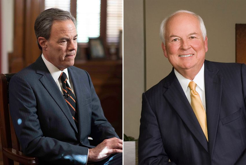 Outgoing Texas Speaker of the House Joe Straus (left) and Steve Allison, who's in the Republican runoff to replace Straus in Texas House District 121.