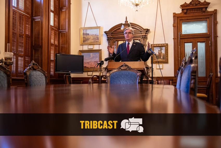 Lt. Gov. Dan Patrick speaks to reporters at a press conference from the State Capitol on Thursday, March 18, 2021.