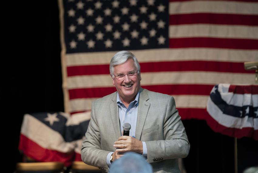 Democratic candidate for Lt. Governor Mike Collier spoke at a candidate rally in Lakeway for statewide and congressional can…