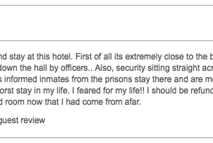 An online review of the southern California hotel dated Sept. 20, 2017.