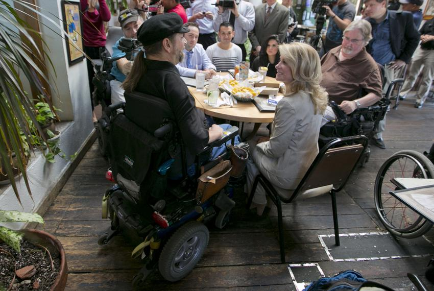 Texas gubernatorial Democratic candidate Sen. Wendy Davis speaks to group of supporters at Guero's Taco Bar on October 15th,…