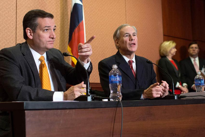 Sen. Ted Cruz (R-Texas) and Gov. Greg Abbott (R-Texas) speak at a press conference in the Capitol about Sen. Cruz's Terroris…