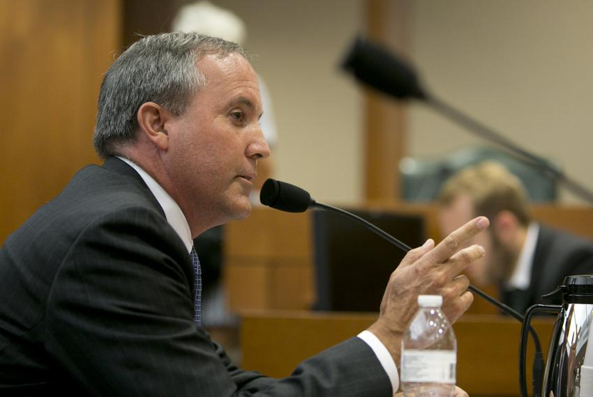 Texas Attorney General Ken Paxton testifies on July 29, 2015, before the Senate Health and Human Services Committee on an in…