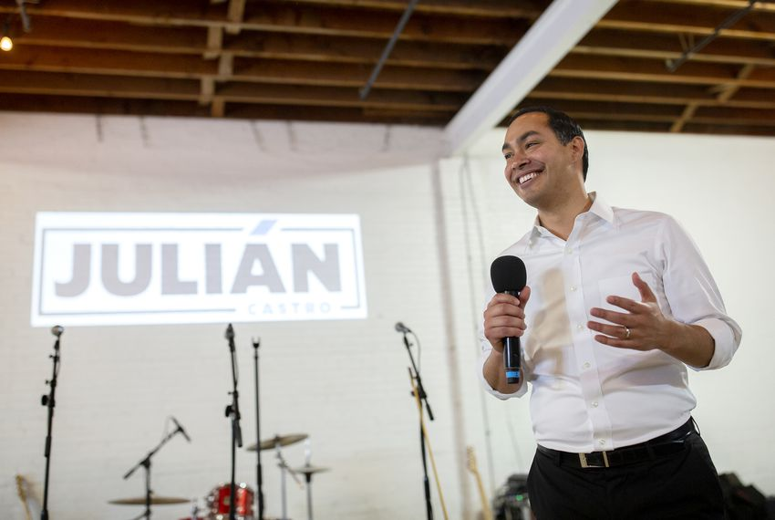 Democratic presidential candidate Julián Castro speaks to supporters at a fundraiser at Native Hostel in Austin.