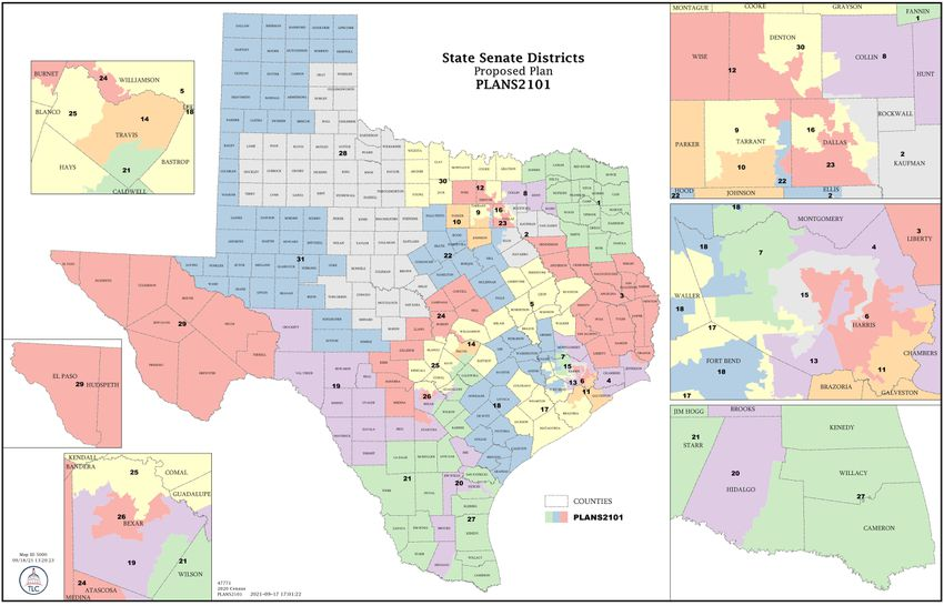 The first proposed new map of the Texas Senate.