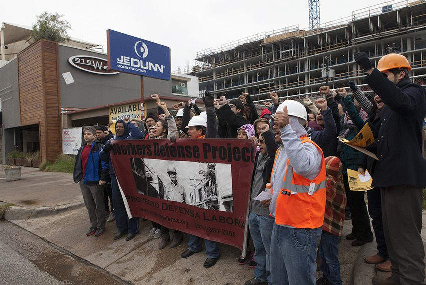 The Workers Defense Project and Iron Workers Union organized a demonstration Nov. 23, 2013.