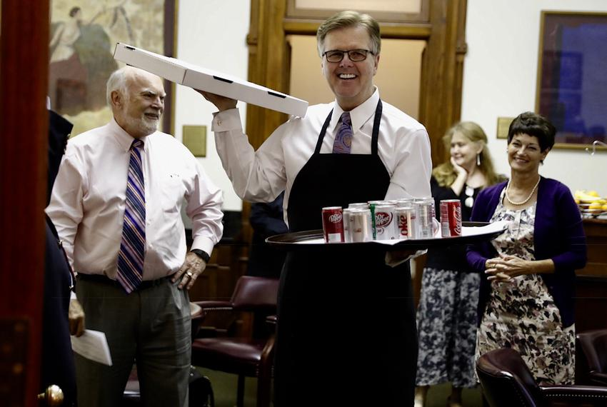 Lt. Gov. Dan Patrick appears in the Texas Senate with pizza and soda as senators arrive for a midnight vote during the speci…