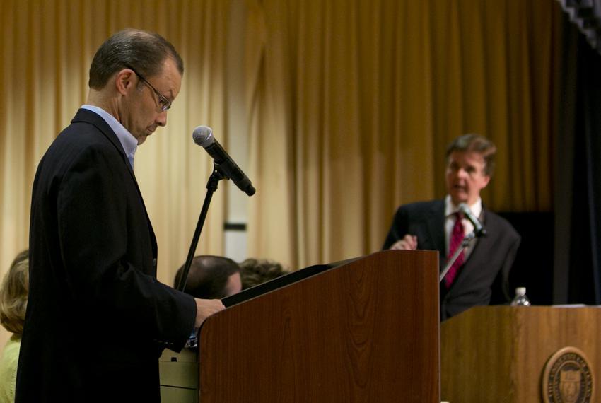 State Board of Education member Thomas Ratliff and state Sen. Dan Patrick, R-Houston, debate CSCOPE at the University of Tex…