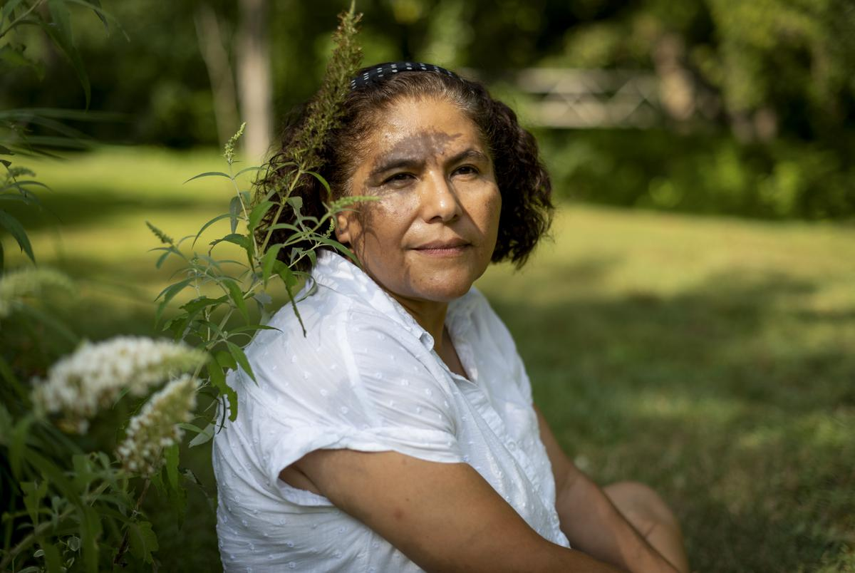 Judith Anderson-Bruess poses for a portrait at her home in Newark, Delaware on Aug. 11, 2021.