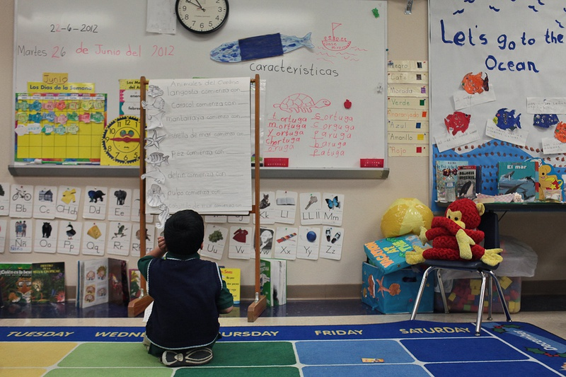 A pre-kindergarten student learned syllables and word identification during a summer bilingual academy at Wilson Elementary School in San Antonio on June 26, 2012.