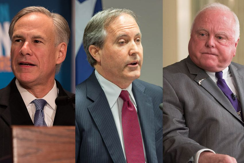 From left: Texas Gov. Greg Abbott, Attorney General Ken Paxton and Agriculture Commissioner Sid Miller.