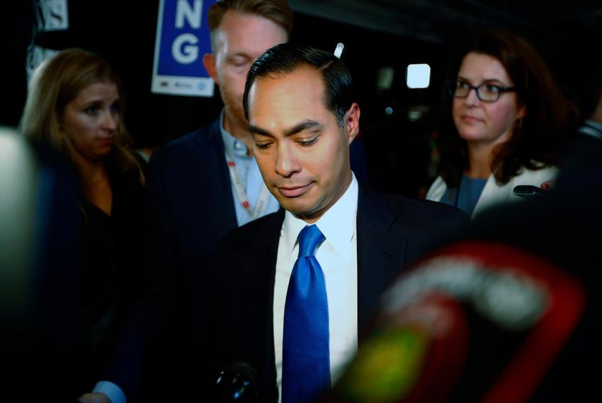Former U.S. Housing Secretary Julian Castro makes his way through the spin room after the 2020 Democratic U.S. presidential …