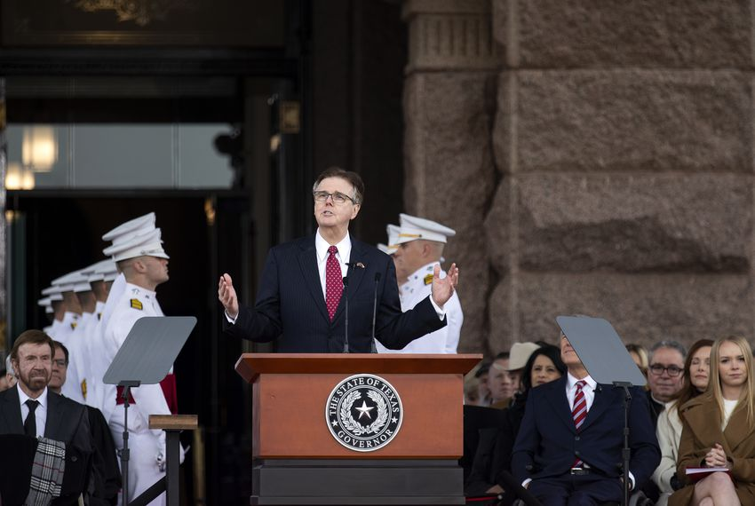 Lt. Gov. Dan Patrick, a Republican, addresses the crowd at the inauguration ceremony on the Capitol grounds on Tuesday.