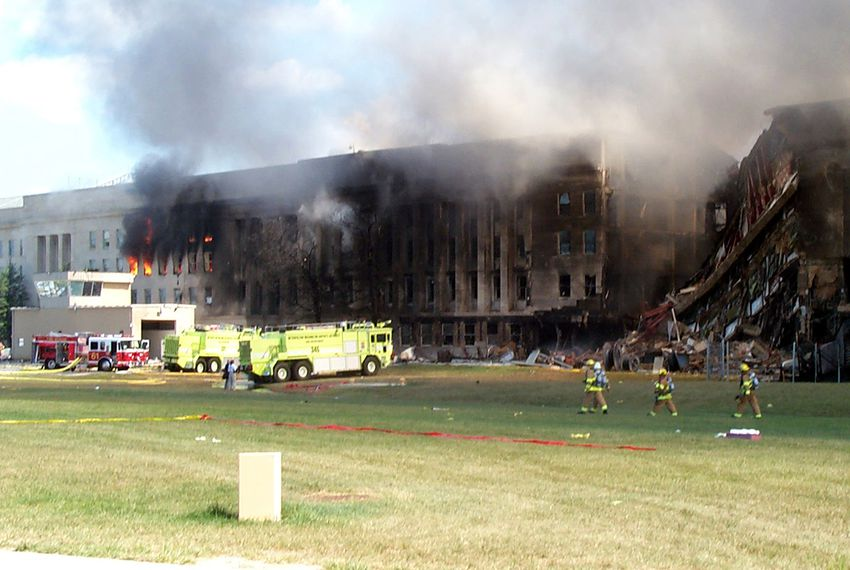 Smoke billows from the Pentagon on September 11, 2001.