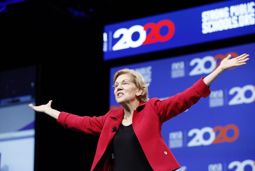 Presidential candidate and U.S. Sen. Elizabeth Warren, D-Mass., speaks at the National Education Association presidential fo…