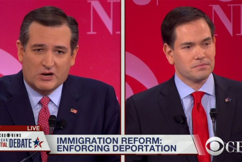 U.S. Sens. and presidential candidates Ted Cruz and Marco Rubio at the GOP debate in Greenville, South Carolina on Feb. 13, 2016.