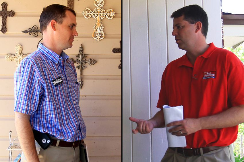 Andrew Murr (left) and Rob Henneke canvass for votes in the Texas House District 53 on May 10, 2014.