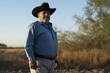 Ociel Mendoza at his ranch in La Grulla. The U.S. government has requested to take possession of Mendoza's land under the Declaration of Taking Act. In order to build the border wall, the ranch's gate and the fence will have to be moved,