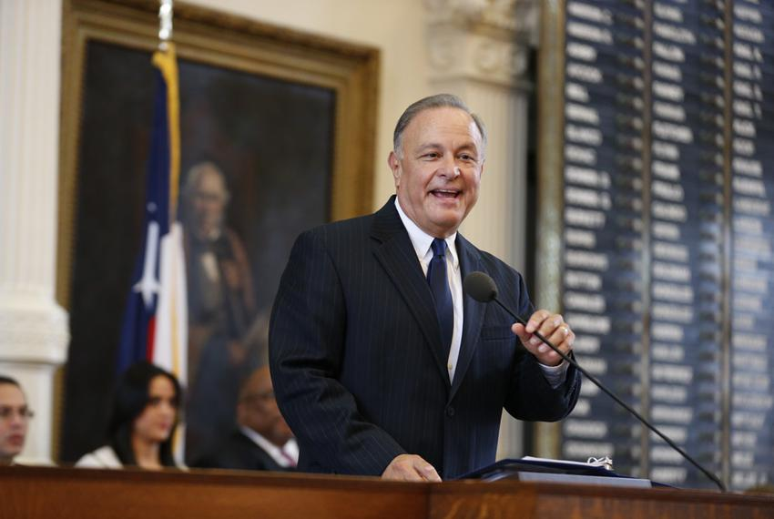 Secretary of State Carlos Cascos of Brownsville gives his inaugural speech on March 7, 2015.
