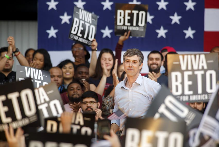 Beto O'Rourke speaks at Texas Southern University in Houston during his Presidential Campaign kick off on March 30.