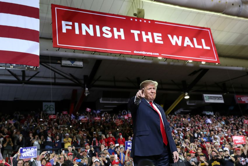 President Donald Trump held the first rally of his 2020 re-election campaign Monday at the El Paso County Coliseum while possible Democratic challenger Beto O'Rourke hosted a competing rally across the street.