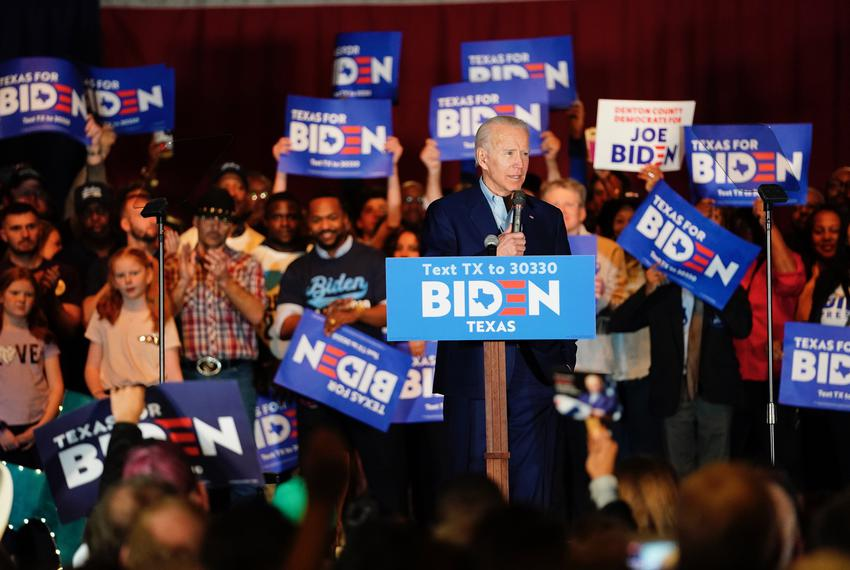 Democratic presidential candidate Joe Biden speaks to a supporters in Dallas the night before Super Tuesday.