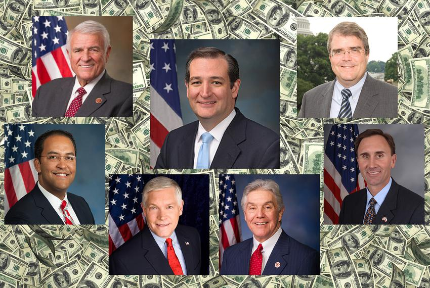 Top row: U.S. Rep. John Carter, U.S. Sen. Ted Cruz and U.S. Rep. John Culberson. Bottom row; U.S. Reps. Will Hurd, Pete Sess…