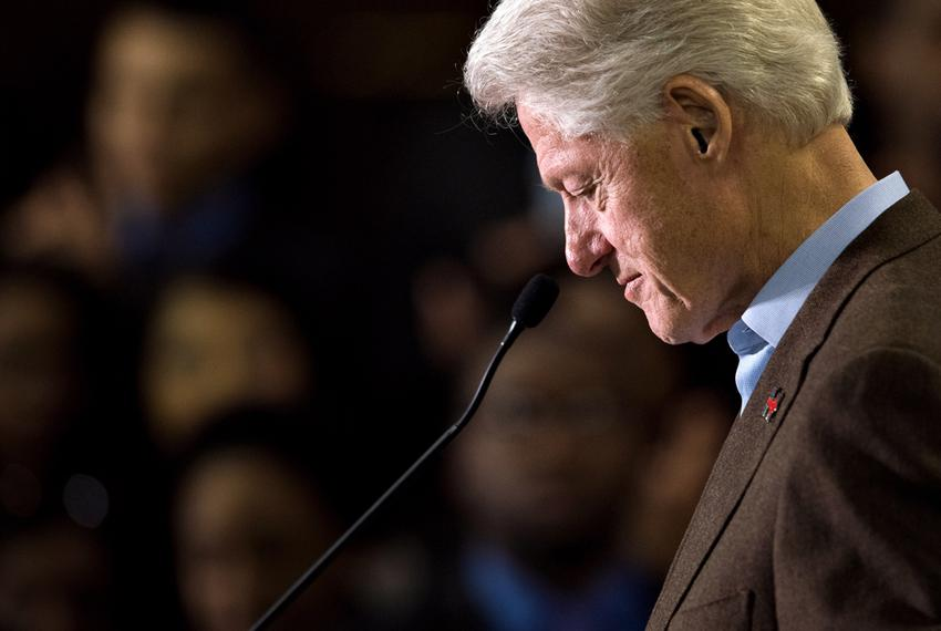 Former President Bill Clinton speaks at Paul Quinn College as he campaigns for his wife, Democratic presidential candidate...