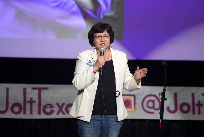 Democratic candidate for governor Lupe Valdez speaks at a Jolt the Vote event in Austin on April 29, 2018.