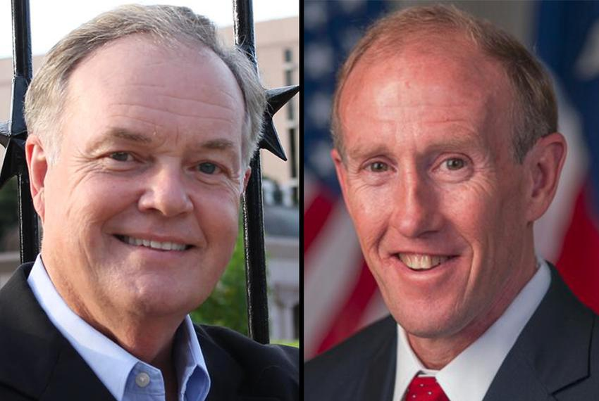 Republicans Wayne Christian (left), and Gary Gates (right) are facing off in a May 24 primary runoff for Texas railroad co...
