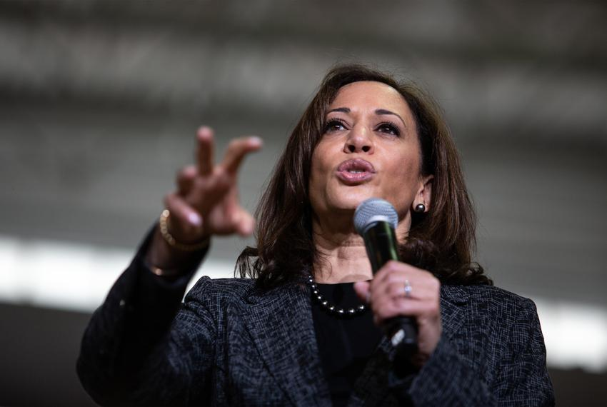 Democratic vice presidential candidate Kamala Harris speaks during a campaign event at Texas Southern University in Housto...