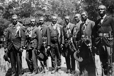 Civil War re-enactors at a Juneteenth celebration at Eastwoods Park in Austin in 1900.