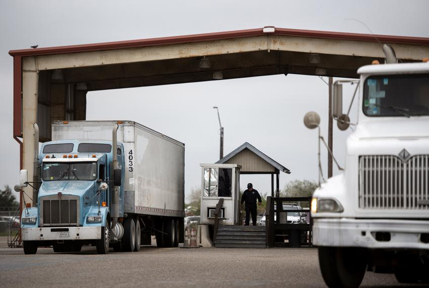 Trucks go through a secondary inspection after crossing the United States border via the Veterans International Bridge on ...