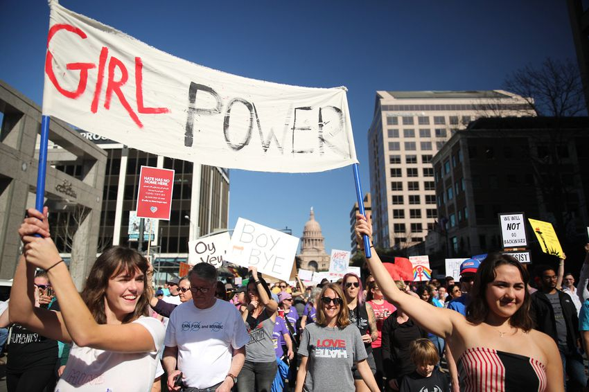 Women and supporters gather at the Texas Capitol for the Women's March on Austin on Jan. 21, 2017.