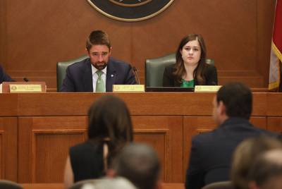 State Rep. Jeff Leach, R-Plano, listens as his wife Becky testifies before the Judiciary and Civil Jurisprudence Committee on April 8, 2019. Leach is chairman of the committee.