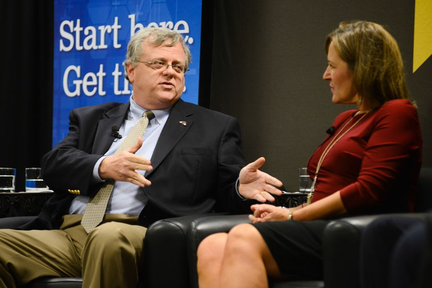 """Paul Bettencourt, now a state senator, is shown on Dec. 5, 2014, during the """"What the Tea Party Wants"""" panel at a Texas Tribune event previewing the 2014 legislative session."""
