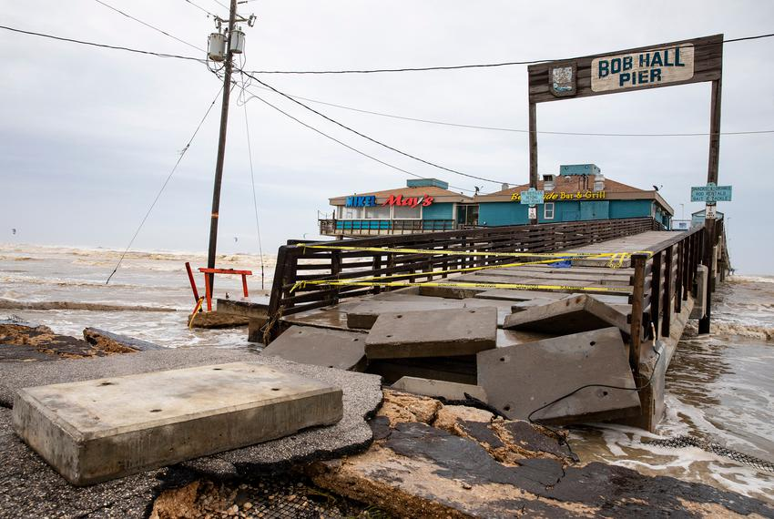 Bob Hall Pier is blocked off the Sunday morning after Hurricane Hanna made landfall.