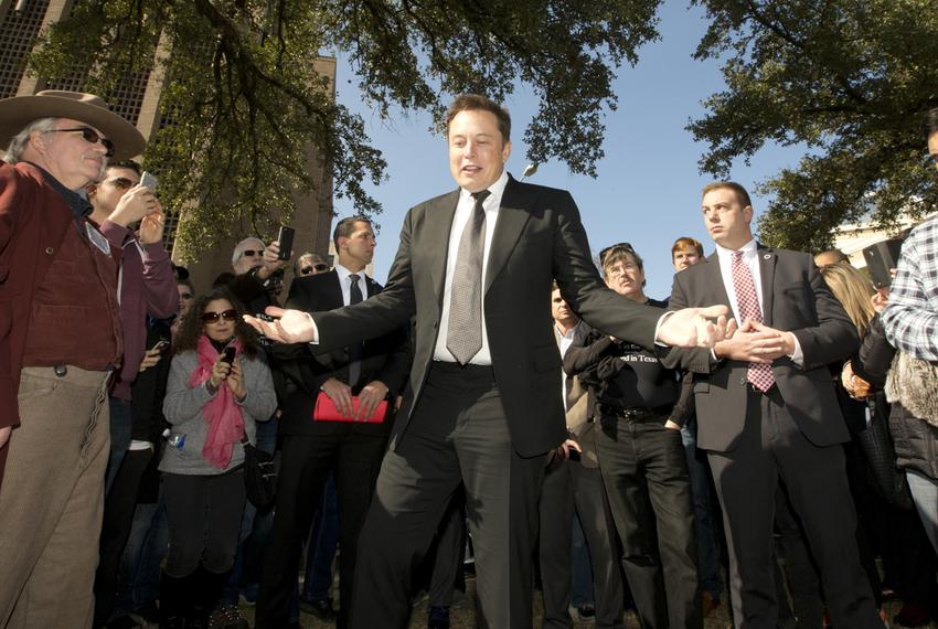 Tesla Motors CEO Elon Musk spoke to crowd outside the Texas Capitol on Jan. 15, 2015.