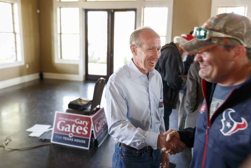 Republican candidate for House District 28, Gary Gates, speaks to supprters in Katy Jan. 25, 2020.