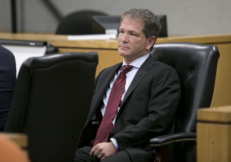 Jack Stick, former chief counsel of the Texas Health and Human Services Commission, sits inside a Travis County courtroom during his 2015 trial for a 2012 DWI arrest.
