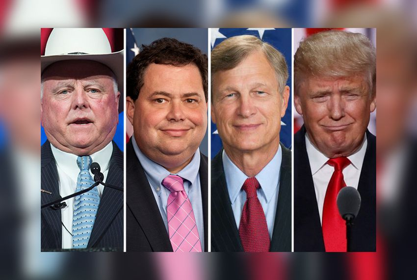 (L-R) Texas Agriculture Commissioner Sid Miller, U.S. Reps. Blake Farenthold, R-Corpus Christi and Bruce Babin,R-Woodville and Republican presidential nominee Donald Trump