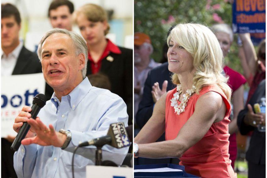 Gubernatorial candidates Greg Abbott (l.) and Wendy Davis (r.).