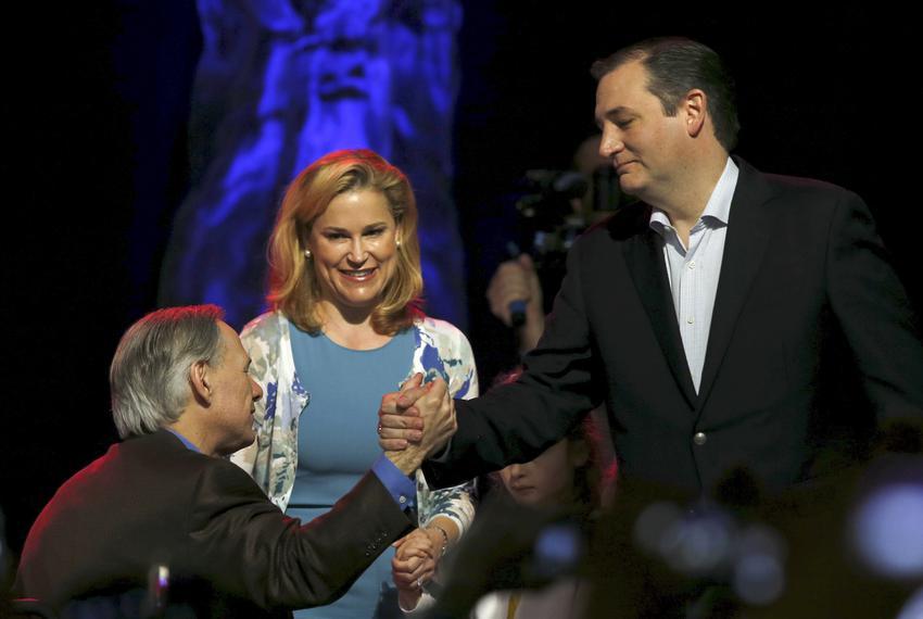 Governor Greg Abbott shook hands with then-U.S. Republican presidential candidate Ted Cruz as Cruz's wife Heidi Cruz looked …