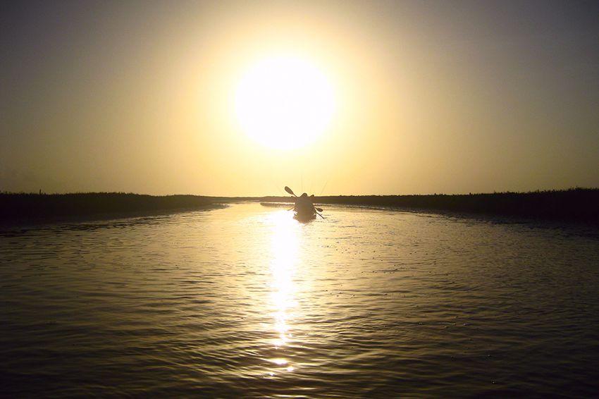 Kayak fishers in east Matagorda Bay.