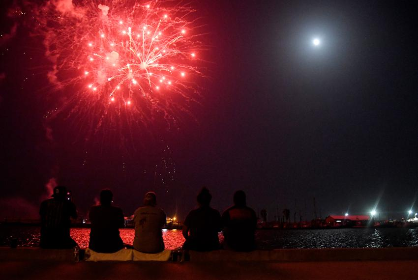 Aransas Pass hosts its Fourth of July fireworks display on Thursday, July 2, 2020, over Conn Brown Harbor. Attendees were ...